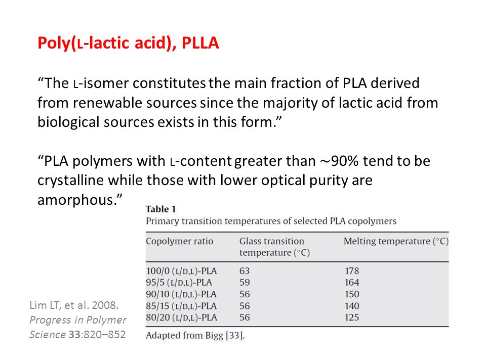 Poly( L -lactic acid), PLLA The L -isomer constitutes the main fraction of PLA derived from renewable sources since the majority of lactic acid from biological sources exists in this form. PLA polymers with L -content greater than ∼ 90% tend to be crystalline while those with lower optical purity are amorphous. Lim LT, et al.