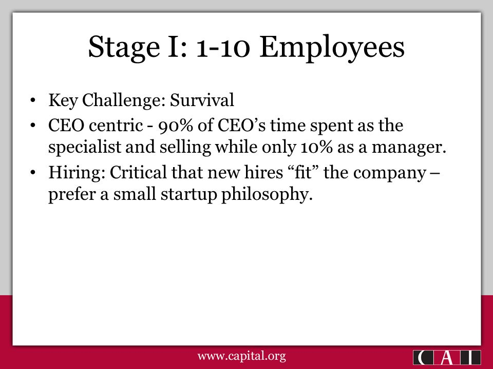 Stage I: 1-10 Employees Key Challenge: Survival CEO centric - 90% of CEO's time spent as the specialist and selling while only 10% as a manager.
