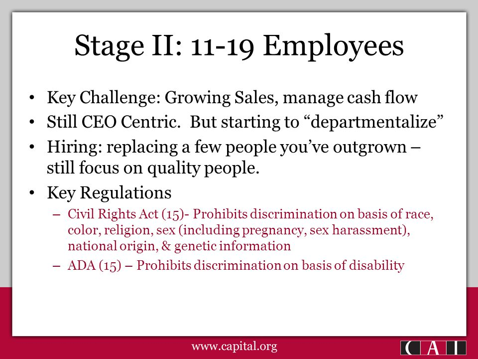 Stage II: 11-19 Employees Key Challenge: Growing Sales, manage cash flow Still CEO Centric.