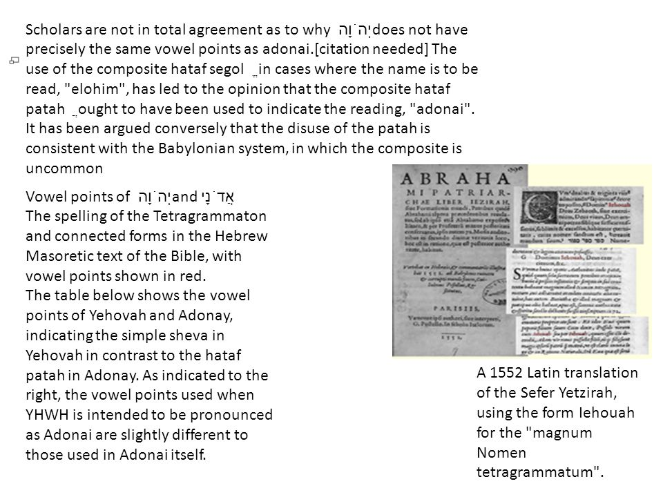Scholars are not in total agreement as to why יְהֹוָה does not have precisely the same vowel points as adonai.[citation needed] The use of the composite hataf segol ֱ in cases where the name is to be read, elohim , has led to the opinion that the composite hataf patah ֲ ought to have been used to indicate the reading, adonai .