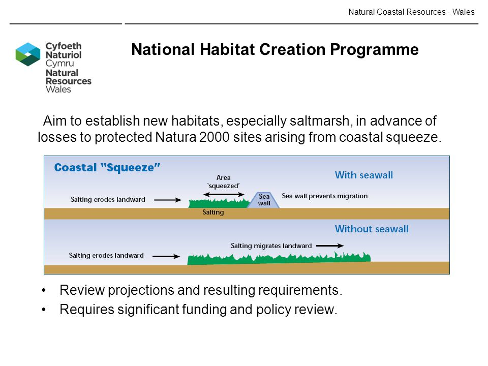 National Habitat Creation Programme Aim to establish new habitats, especially saltmarsh, in advance of losses to protected Natura 2000 sites arising from coastal squeeze.