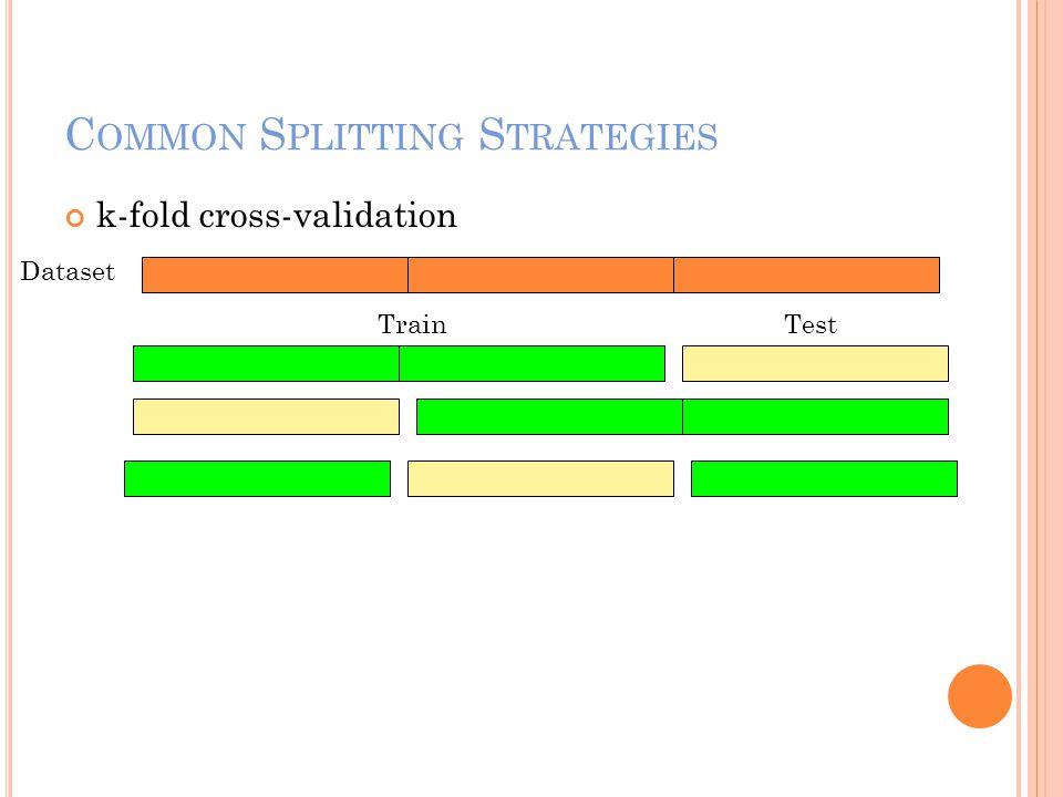 C OMMON S PLITTING S TRATEGIES k-fold cross-validation TrainTest Dataset