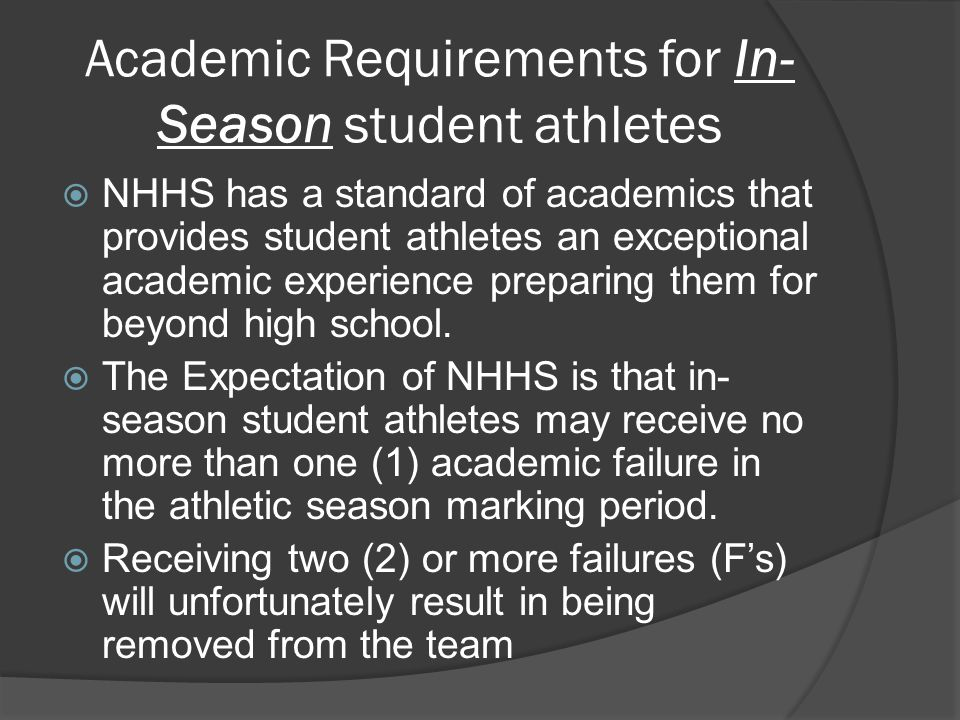 Academic Requirements for In- Season student athletes  NHHS has a standard of academics that provides student athletes an exceptional academic experience preparing them for beyond high school.