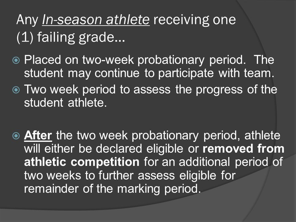 Any In-season athlete receiving one (1) failing grade…  Placed on two-week probationary period.