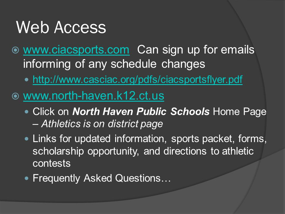 Social Media has reached NHHS  Facebook: Parents and Athletes – please visit (Like) the North Haven High School Athletics Facebook page  Twitter: Please follow NorthHavenAthletics@NHHSIndians the Athletic Department