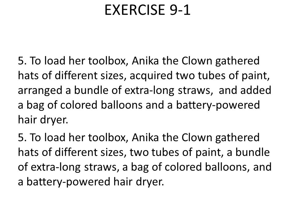 EXERCISE 9-1 5.