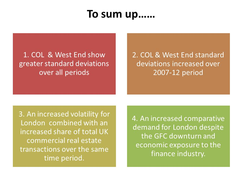 To sum up…… 1. COL & West End show greater standard deviations over all periods 2.