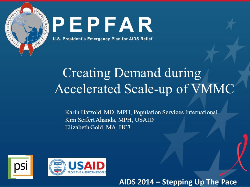 PEPFAR Key Elements Sustained demand essential for scale up Balance between demand and supply Evidence based, tailored communication and demand creation strategies VMMC Communication Continuum Service Delivery Modalities