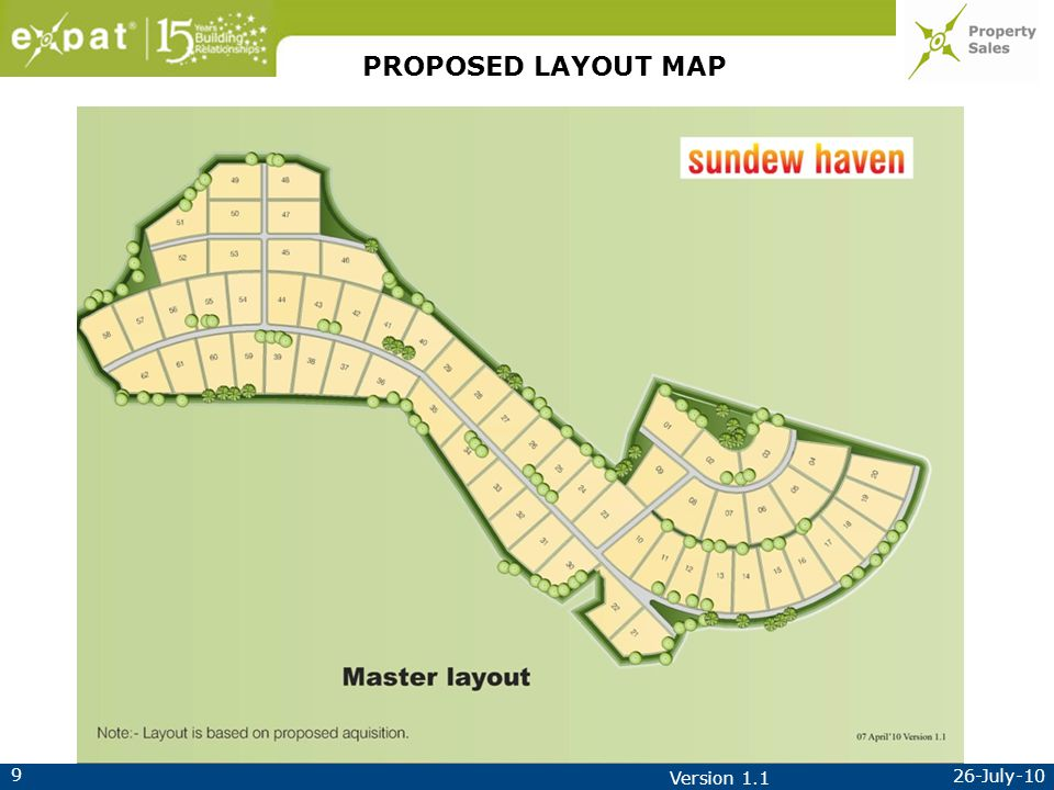 9 26-July-10 Version 1.1 PROPOSED LAYOUT MAP