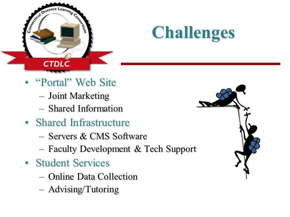 Challenges Portal Web Site Portal Web Site –Joint Marketing –Shared Information Shared InfrastructureShared Infrastructure –Servers & CMS Software –Faculty Development & Tech Support Student ServicesStudent Services –Online Data Collection –Advising/Tutoring