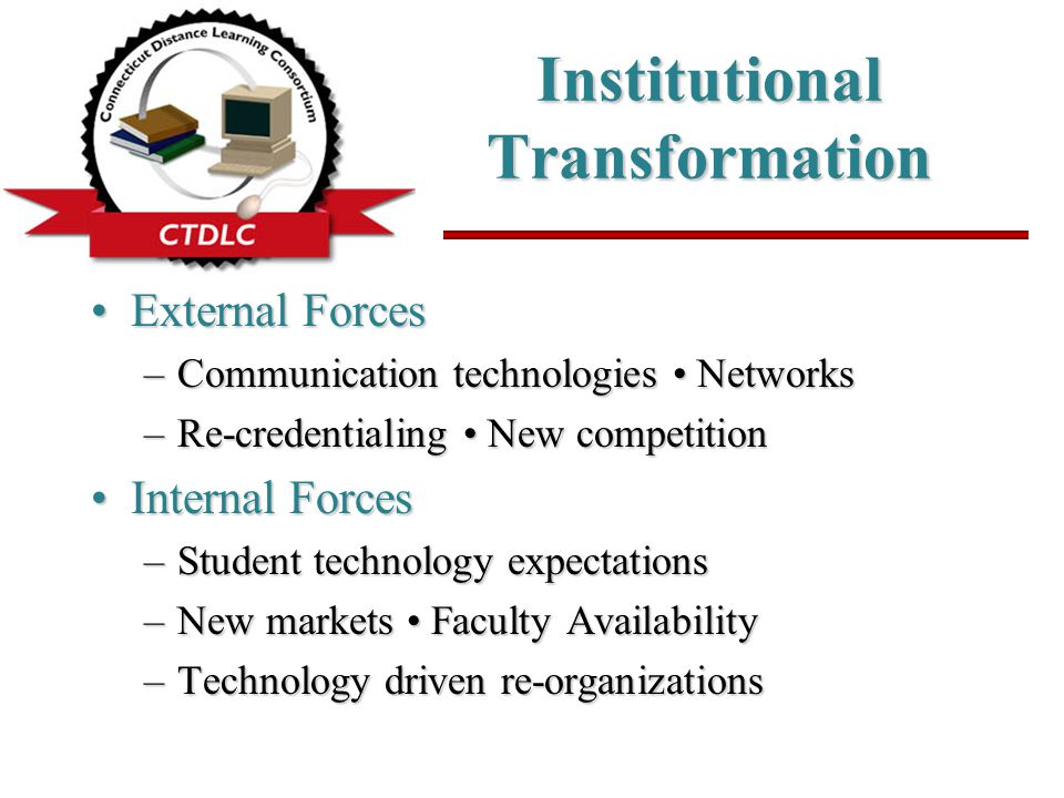 Institutional Transformation External ForcesExternal Forces –Communication technologies Networks –Re-credentialing New competition Internal ForcesInte