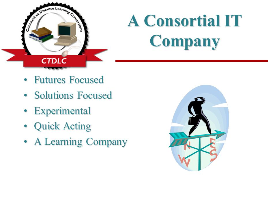 A Consortial IT Company Futures FocusedFutures Focused Solutions FocusedSolutions Focused ExperimentalExperimental Quick ActingQuick Acting A Learning CompanyA Learning Company