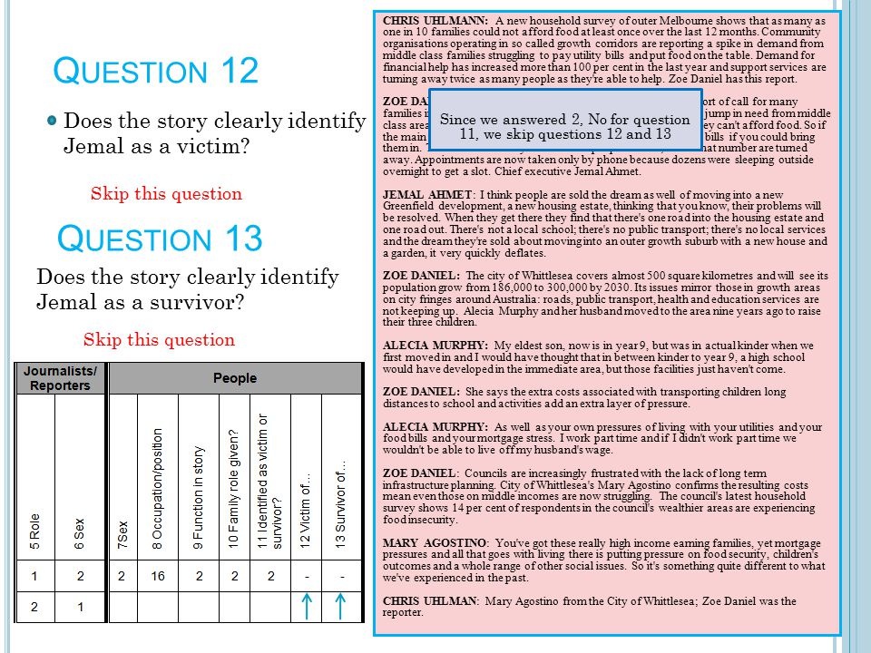 Q UESTION 12 Does the story clearly identify Jemal as a victim.