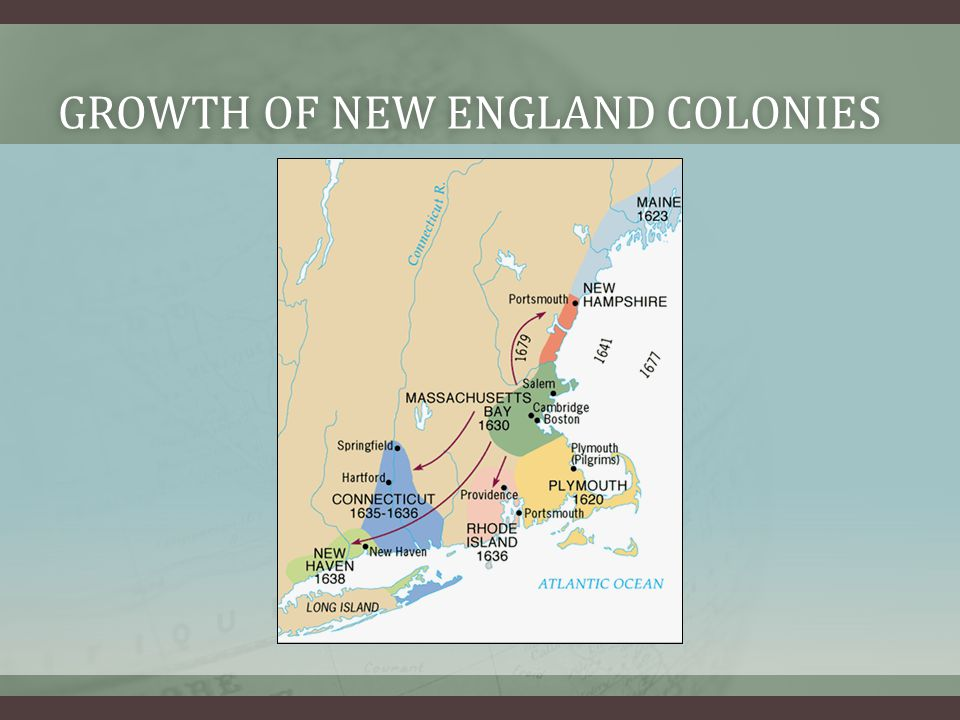 GROWTH OF NEW ENGLAND COLONIESGROWTH OF NEW ENGLAND COLONIES