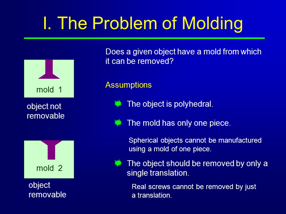 I. The Problem of Molding Does a given object have a mold from which it can be removed.