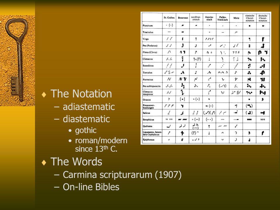  The Notation –adiastematic –diastematic gothic roman/modern since 13 th C.  The Words –Carmina scripturarum (1907) –On-line Bibles