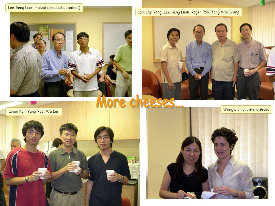 Wang Liping, Jelena Grbic Lam Lay Yong, Lee Seng Luan, Roger Poh, Tang Wai Shing Lee Seng Luan, Faizal (graduate student) Zhao Kun, Yang Yue, Wu Lei