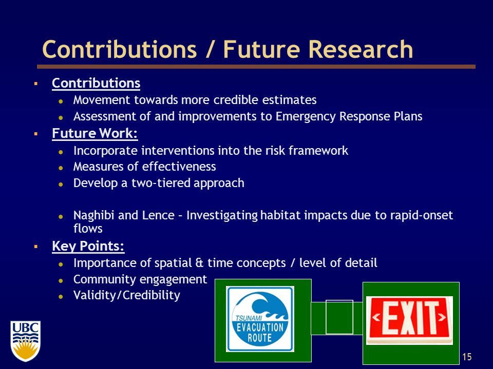 15 Contributions / Future Research  Contributions Movement towards more credible estimates Assessment of and improvements to Emergency Response Plans