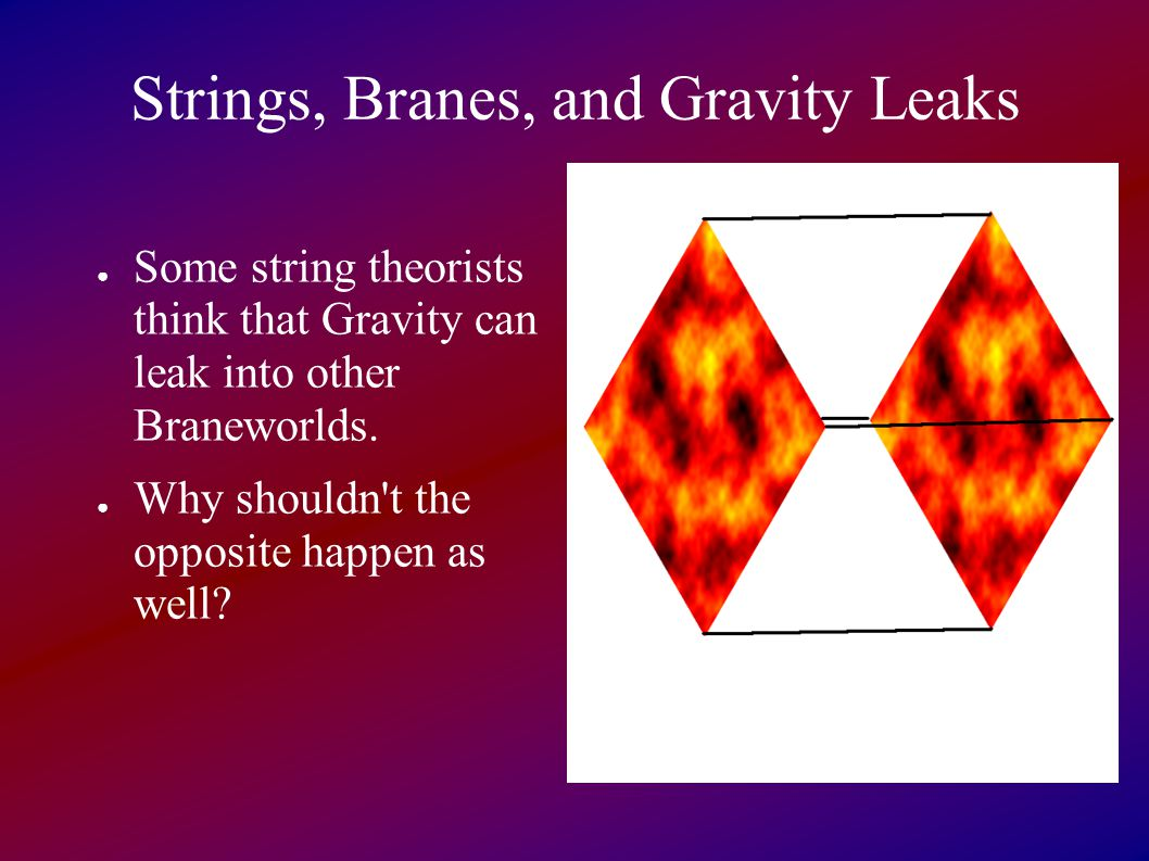 Strings, Branes, and Gravity Leaks ● Some string theorists think that Gravity can leak into other Braneworlds.