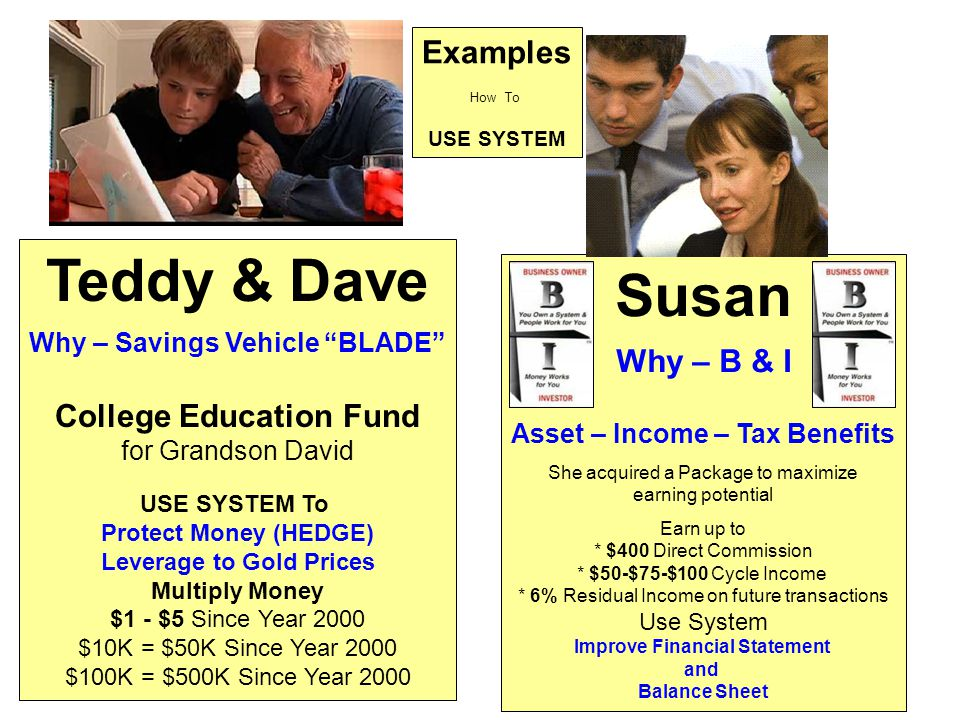 Examples How To USE SYSTEM Teddy & Dave Why – Savings Vehicle BLADE College Education Fund for Grandson David USE SYSTEM To Protect Money (HEDGE) Leverage to Gold Prices Multiply Money $1 - $5 Since Year 2000 $10K = $50K Since Year 2000 $100K = $500K Since Year 2000 Susan Why – B & I Asset – Income – Tax Benefits She acquired a Package to maximize earning potential Earn up to * $400 Direct Commission * $50-$75-$100 Cycle Income * 6% Residual Income on future transactions Use System Improve Financial Statement and Balance Sheet
