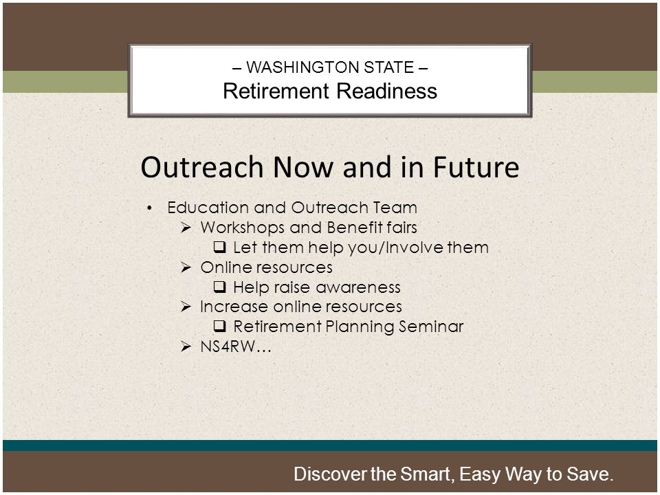 – WASHINGTON STATE – Retirement Readiness Discover the Smart, Easy Way to Save.