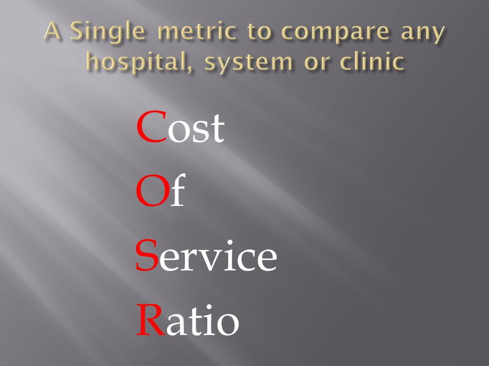 Cost Of Service Ratio