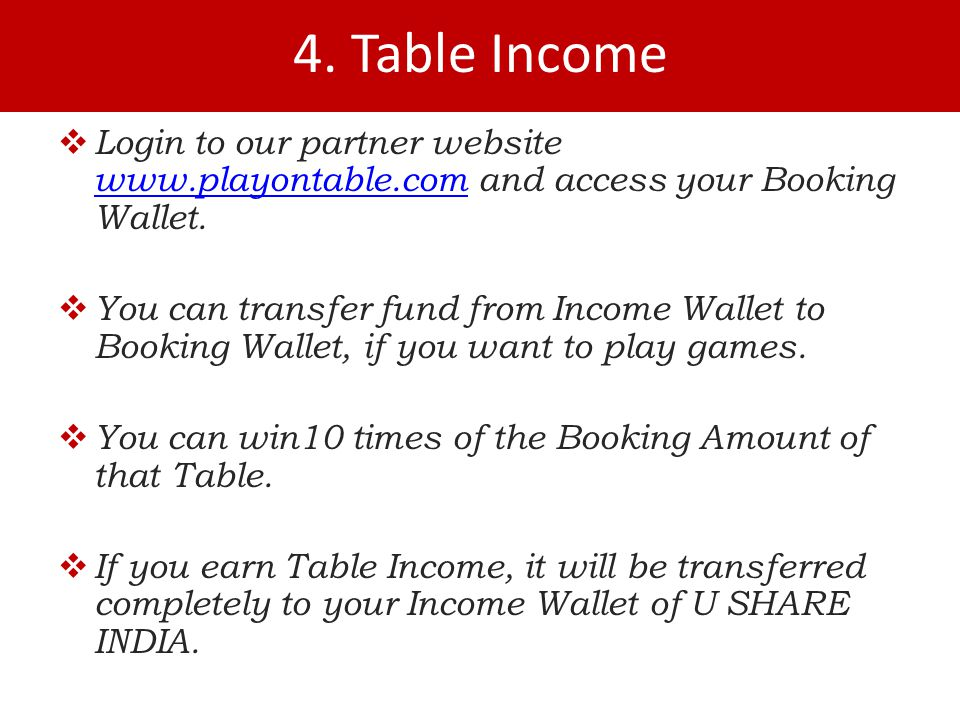 4. Table Income  Login to our partner website   and access your Booking Wallet.