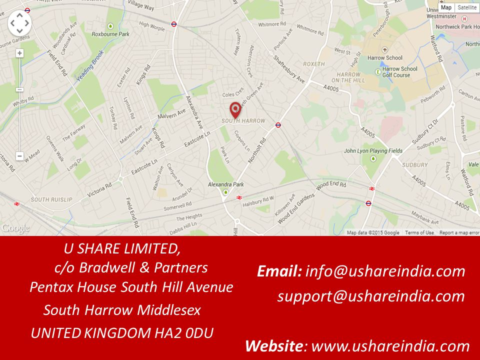 U SHARE LIMITED, c/o Bradwell & Partners Pentax House South Hill Avenue South Harrow Middlesex UNITED KINGDOM HA2 0DU    Website: