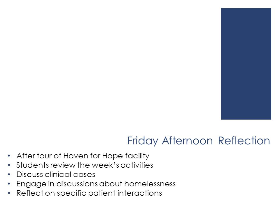 Friday Afternoon Reflection After tour of Haven for Hope facility Students review the week's activities Discuss clinical cases Engage in discussions a