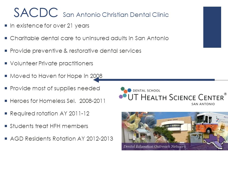 SACDC San Antonio Christian Dental Clinic  In existence for over 21 years  Charitable dental care to uninsured adults in San Antonio  Provide preventive & restorative dental services  Volunteer Private practitioners  Moved to Haven for Hope in 2008  Provide most of supplies needed  Heroes for Homeless Sel.