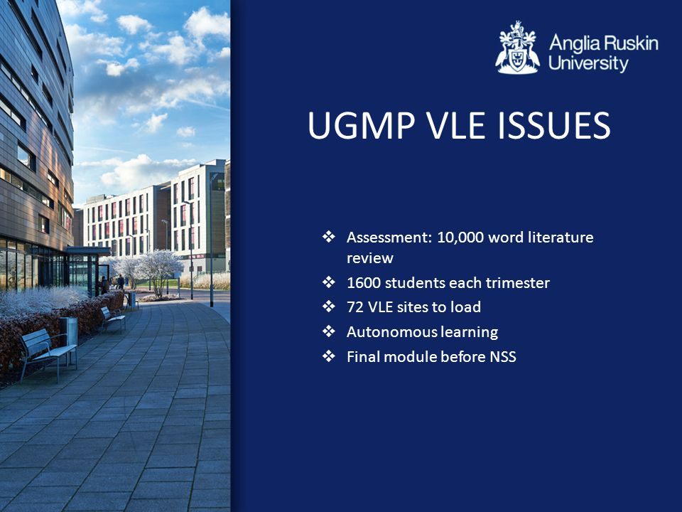 UGMP VLE ISSUES  Assessment: 10,000 word literature review  1600 students each trimester  72 VLE sites to load  Autonomous learning  Final module before NSS