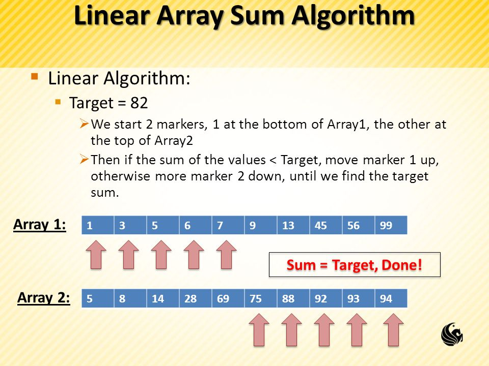 Linear Array Sum Algorithm  Linear Algorithm:  Target = 82  We start 2 markers, 1 at the bottom of Array1, the other at the top of Array2  Then if the sum of the values < Target, move marker 1 up, otherwise more marker 2 down, until we find the target sum.