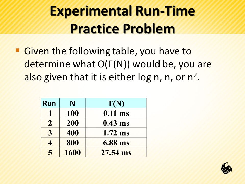 Experimental Run-Time Practice Problem  Given the following table, you have to determine what O(F(N)) would be, you are also given that it is either log n, n, or n 2.