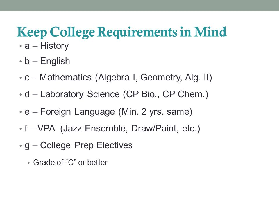Keep College Requirements in Mind a – History b – English c – Mathematics (Algebra I, Geometry, Alg.