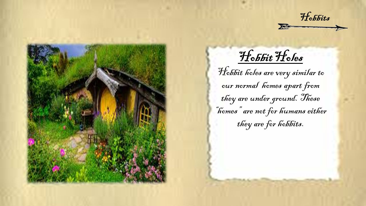 "Hobbit Holes Hobbit holes are very similar to our normal homes apart from they are under ground. These ""homes"" are not for humans either they are for"