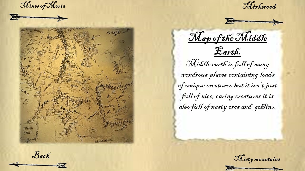 Map of the Middle Earth. Middle earth is full of many wondrous places containing loads of unique creatures but it isn't just full of nice, caring crea