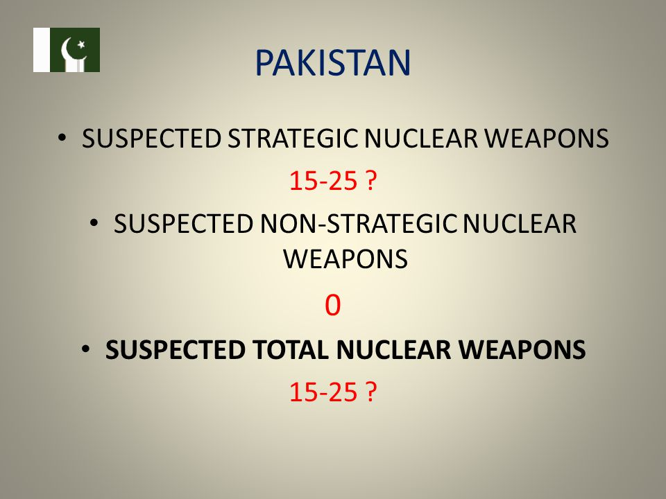 PAKISTAN SUSPECTED STRATEGIC NUCLEAR WEAPONS 15-25 .