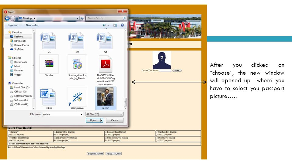 """After you clicked on """"choose"""", the new window will opened up where you have to select you passport picture….."""