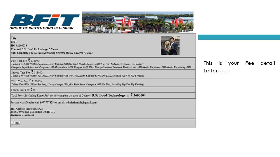 This is your Fee detail Letter……