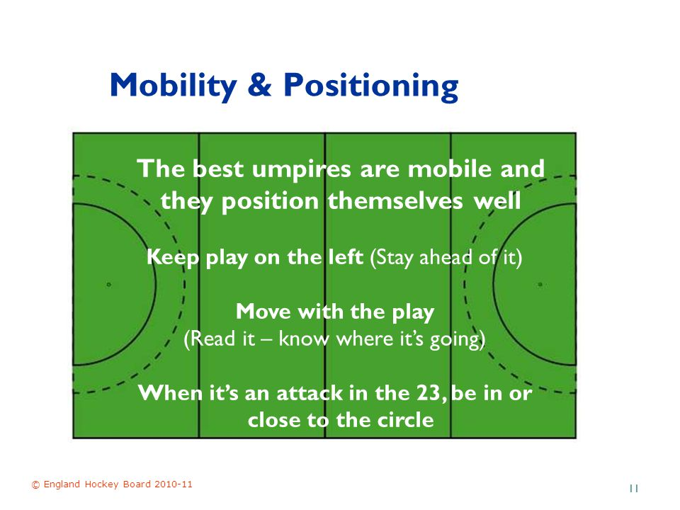 © England Hockey Board 2010-11 11 Mobility & Positioning The best umpires are mobile and they position themselves well Keep play on the left (Stay ahead of it) Move with the play (Read it – know where it's going) When it's an attack in the 23, be in or close to the circle