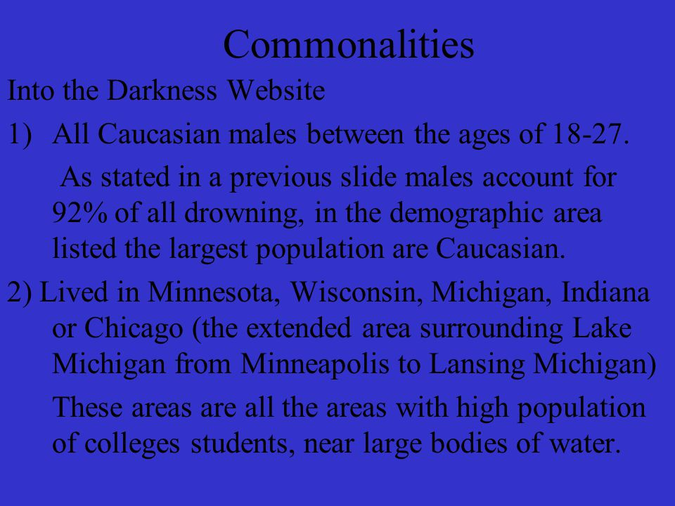 Commonalities Into the Darkness Website 1)All Caucasian males between the ages of 18-27.
