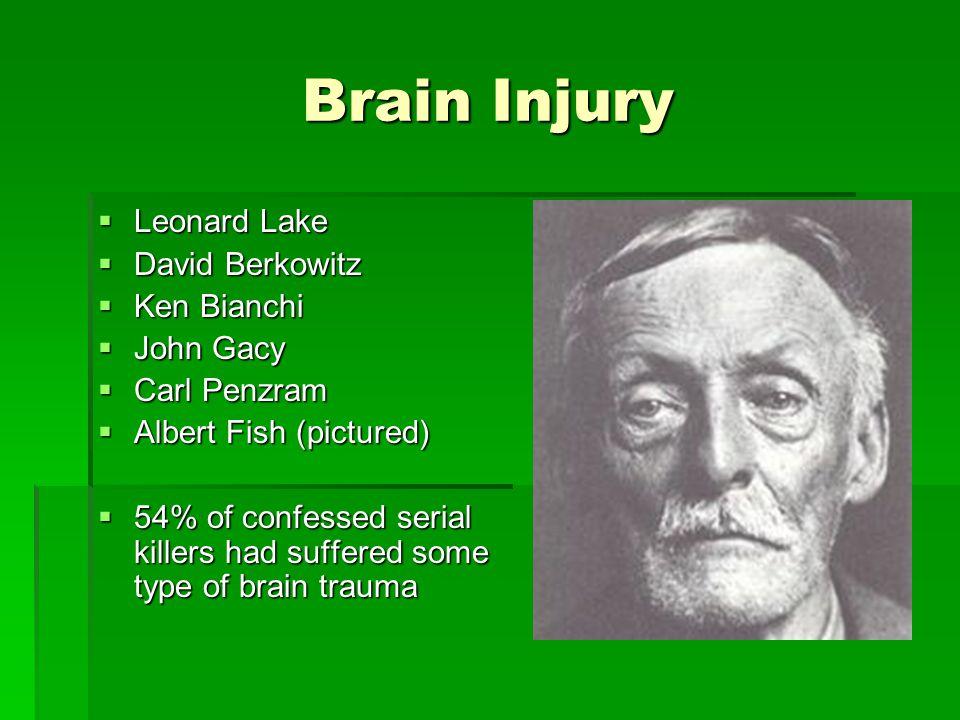 Brain Injury  Leonard Lake  David Berkowitz  Ken Bianchi  John Gacy  Carl Penzram  Albert Fish (pictured)  54% of confessed serial killers had suffered some type of brain trauma
