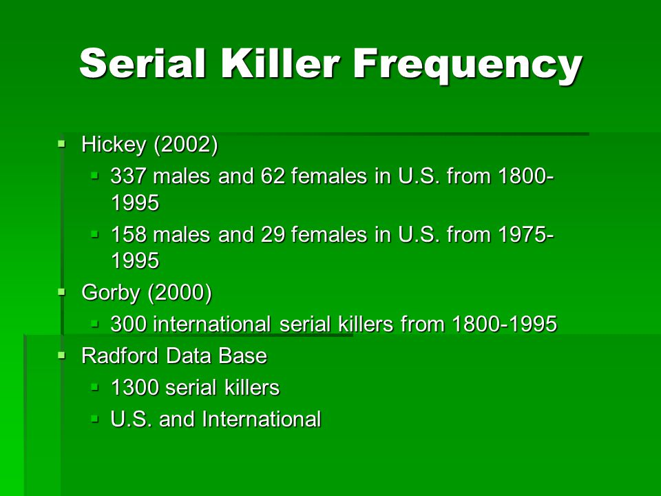 Serial Killer Frequency  Hickey (2002)  337 males and 62 females in U.S. from 1800- 1995  158 males and 29 females in U.S. from 1975- 1995  Gorby