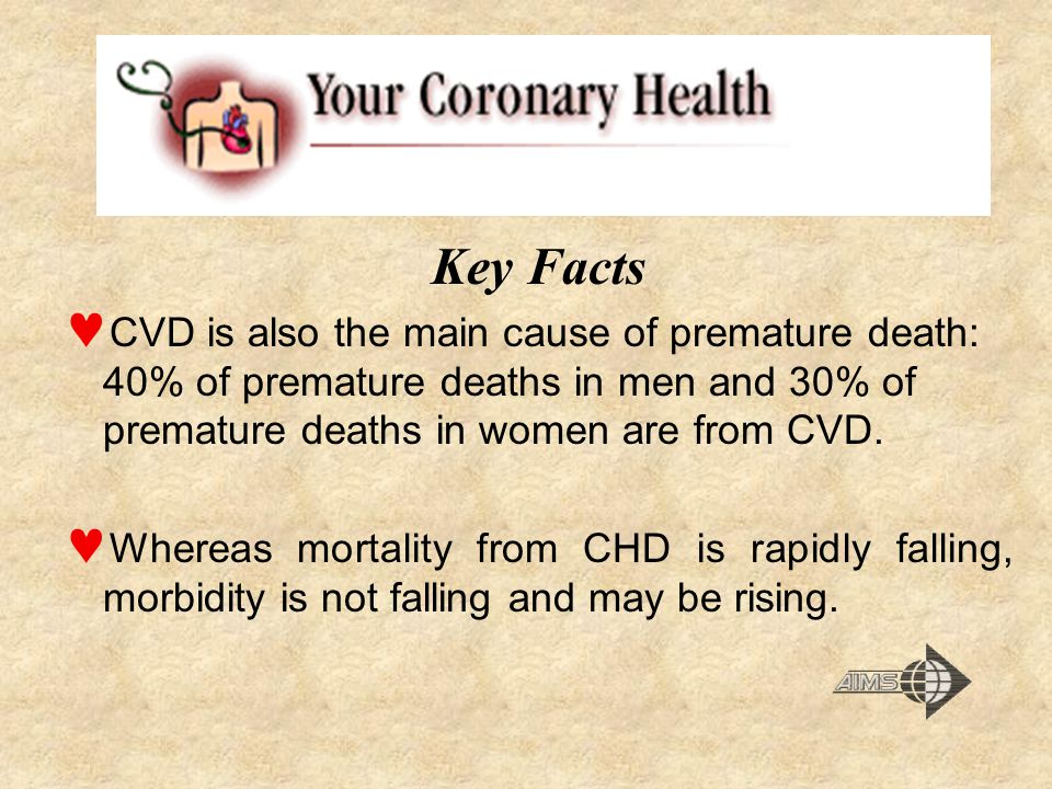 Key Facts CVD is also the main cause of premature death: 40% of premature deaths in men and 30% of premature deaths in women are from CVD.