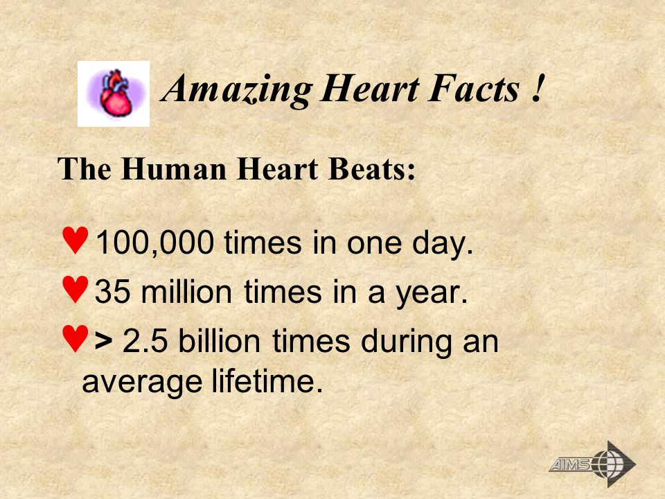 Amazing Heart Facts .The Human Heart Beats: 100,000 times in one day.
