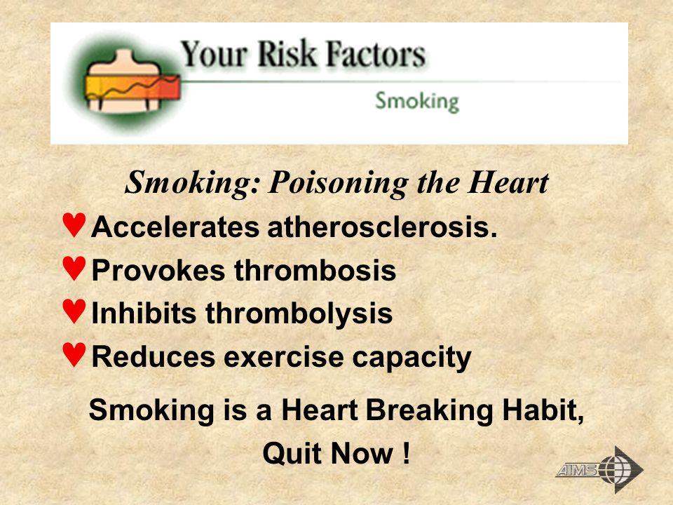 Smoking: Poisoning the Heart Accelerates atherosclerosis. Provokes thrombosis Inhibits thrombolysis Reduces exercise capacity Smoking is a Heart Break