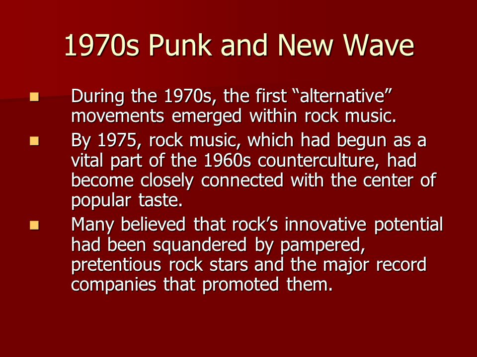 """During the 1970s, the first """"alternative"""" movements emerged within rock music. During the 1970s, the first """"alternative"""" movements emerged within rock"""
