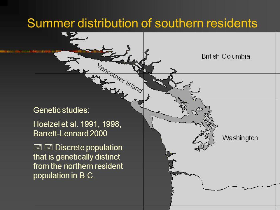 Summer distribution of southern residents Genetic studies: Hoelzel et al.