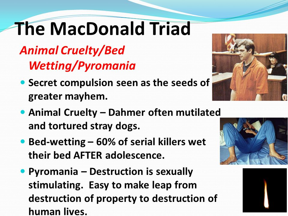 The MacDonald Triad Animal Cruelty/Bed Wetting/Pyromania Secret compulsion seen as the seeds of greater mayhem.