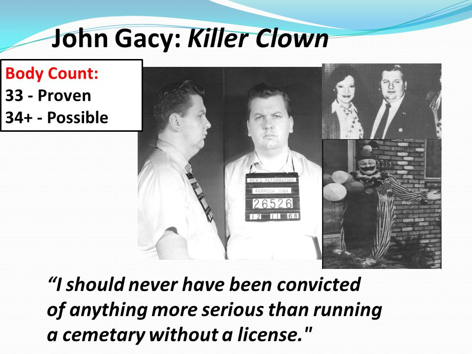 """John Gacy: Killer Clown """"I should never have been convicted of anything more serious than running a cemetary without a license."""